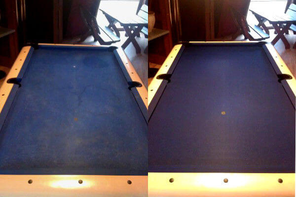 sukno stolu bilardowego przed i po praniu