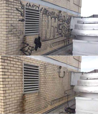 usuwanie graffiti przed i po
